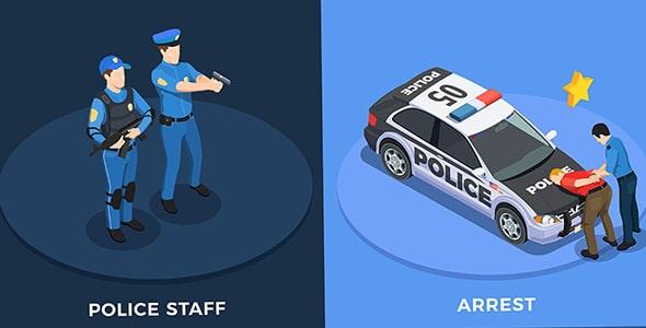 وکتور مجموعه کاراکتر کارتونی پلیس