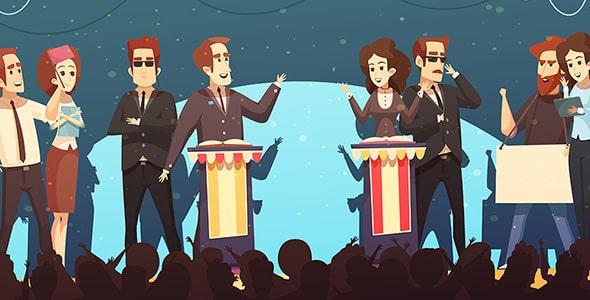 وکتور کاراکتر کارتونی مناظره انتخاباتی