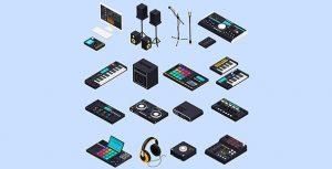 وکتور مجموعه عناصر اجرای موسیقی الکترونیک