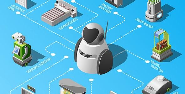 وکتور با مفهوم فناوری و هتل رباتیک