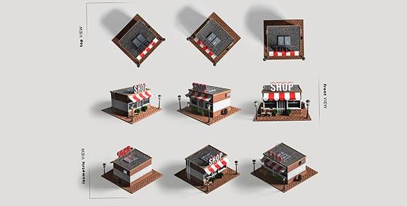 فایل لایه باز زوایای مختلف 3D فروشگاه