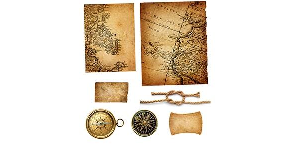 تصویر مجموعه نقشه و قطب نمای قدیمی