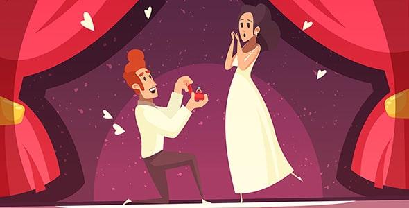 وکتور کاراکتر کارتونی خواستگاری و ازدواج