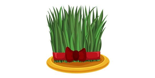 آیکون سبزه سفره هفت سین با روبان قرمز