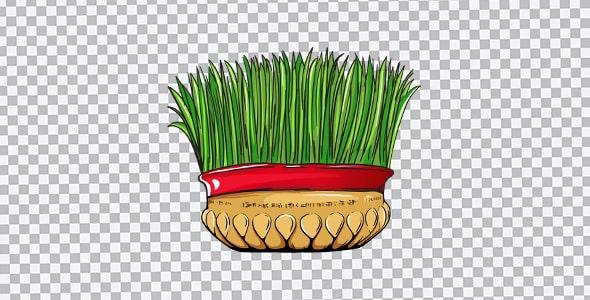 تصویر PNG سبزه عید و روبان قرمز