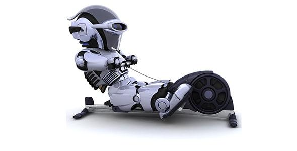 تصویر پس زمینه روبات در حال تمرین