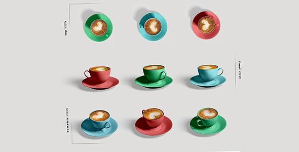 فایل لایه باز زوایای مختلف فنجان قهوه