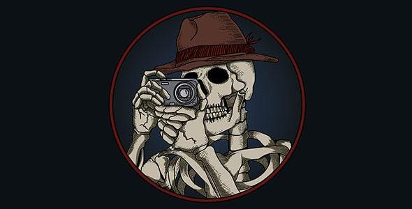 وکتور کارتونی اسکلت انسان در حال عکاسی