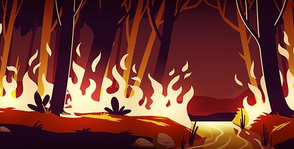 وکتور تصویرسازی آتش سوزی جنگل در شب