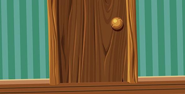 وکتور کارتونی درب چوبی قدیمی