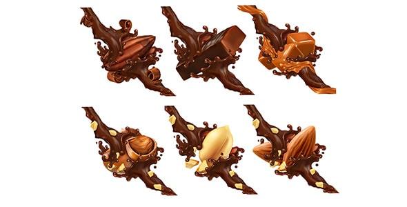 وکتور شکلات داغ و آجیل با کارامل