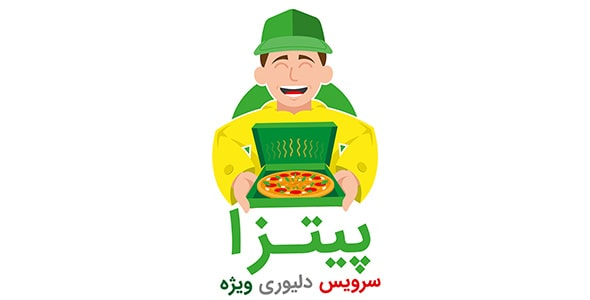 وکتور کاراکتر کارتونی انسان و دلیوری پیتزا