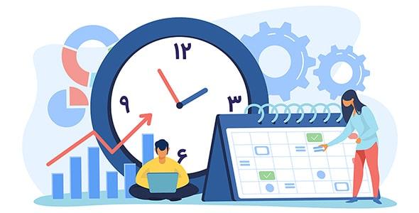 وکتور با مفهوم زمان بندی پروژه و کارها