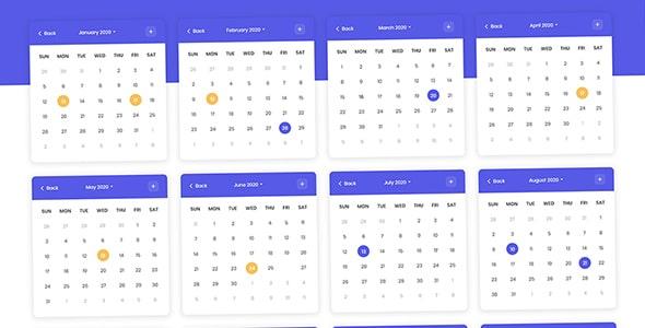 فایل لایه باز طرح تقویم موبایل سال 2020