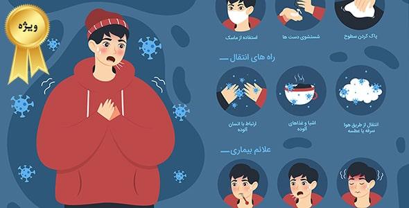 وکتور فارسی اینفوگرافیک ویروس کرونا