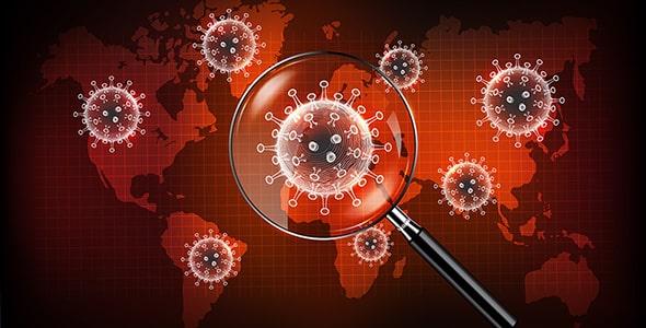 وکتور ذره بین با مفهوم ویروس کرونا در جهان