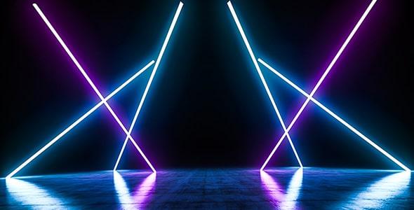 تصویر صحنه و استیج خالی با افکت نور رنگی