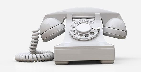 تصویر رندر سه بعدی تلفن سفید قدیمی