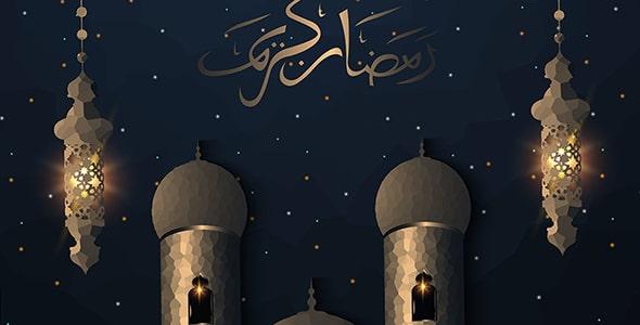 وکتور ماه مبارک رمضان و تصویرسازی مسجد