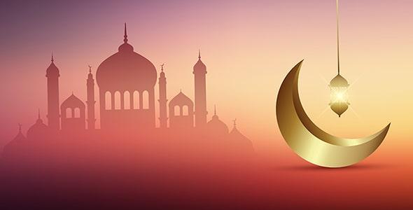 وکتور ماه رمضان با هلال ماه طلایی و مسجد