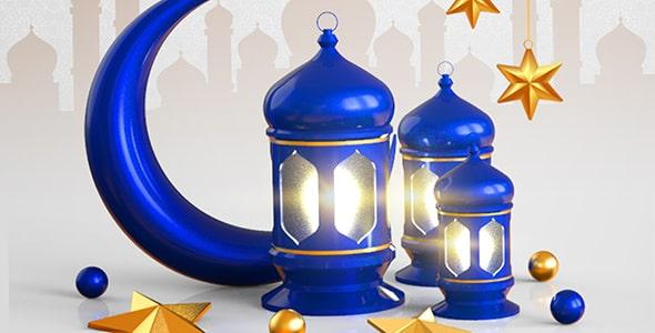 فایل لایه باز بنر ماه رمضان و هلال ماه آبی