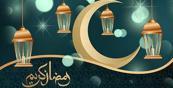 وکتور پوستر رمضان کریم و هلال ماه طلایی