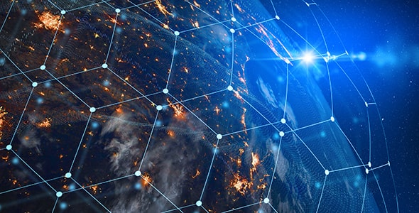 تصویر کره زمین با مفهوم اینترنت و تکنولوژی