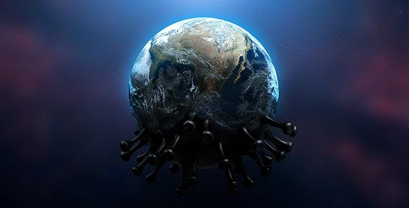 فایل لایه باز موکاپ ویروس کرونا و کره زمین