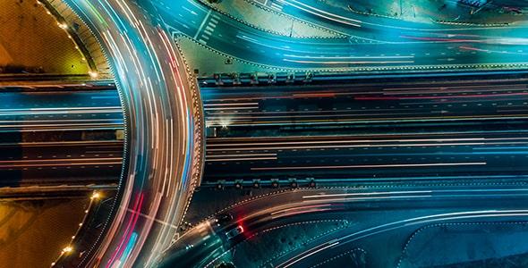 تصویر نمای بالا ترافیک جاده در تایلند