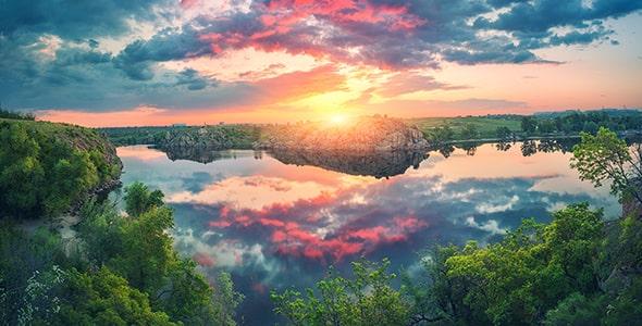 تصویر منظره و طبیعت تابستانی با دریاچه