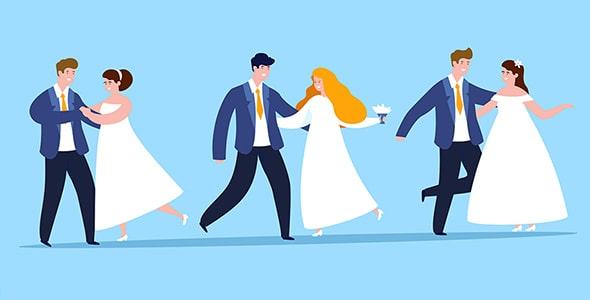 وکتور کاراکتر کارتونی فلت عروس و داماد
