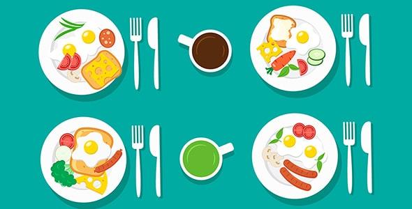 وکتور نمای بالا انواع بشقاب غذای صبحانه