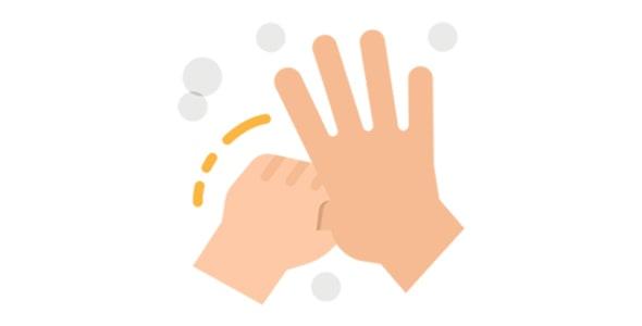 آیکون با مفهوم کووید 19 و شستشوی دست