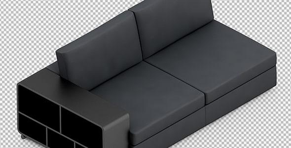 فایل لایه باز موکاپ ایزومتریک رندر 3D مبل