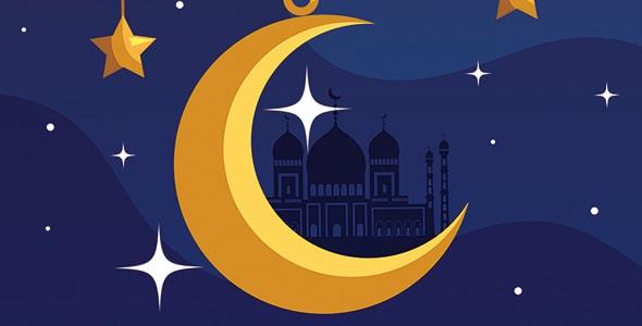 وکتور فارسی ماه رمضان و هلال ماه آویز