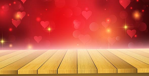 وکتور پس زمینه میز چوبی و روز ولنتاین