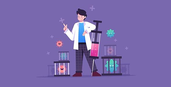 وکتور کاراکتر کارتونی با مفهوم درمان ویروس