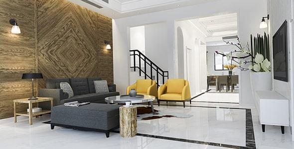 تصویر رندر 3D و مدرن طراحی داخلی خانه