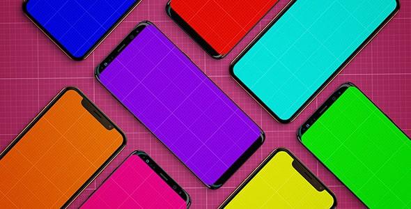 فایل لایه باز موکاپ مجموعه موبایل رنگارنگ