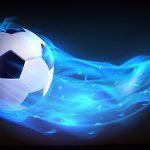 وکتور پرواز توپ فوتبال با آتش آبی