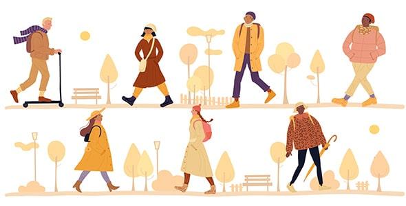 وکتور کاراکتر انسان و قدم زدن در فصل پاییز