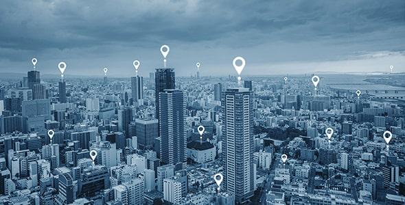 تصویر نمای شهر مفهوم ارتباط بی سیم و لوکیشن