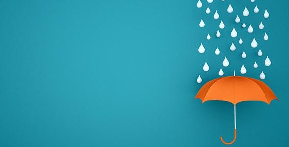 تصویر چتر نارنجی با مفهوم بارش باران