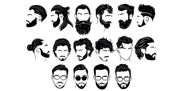 وکتور مجموعه ضدنور مدل مو و ریش مردانه