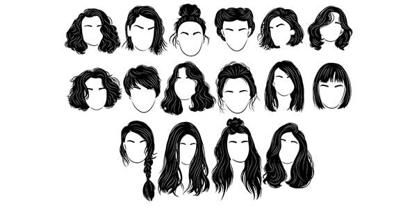 وکتور مجموعه ضدنور مدل مو زنانه