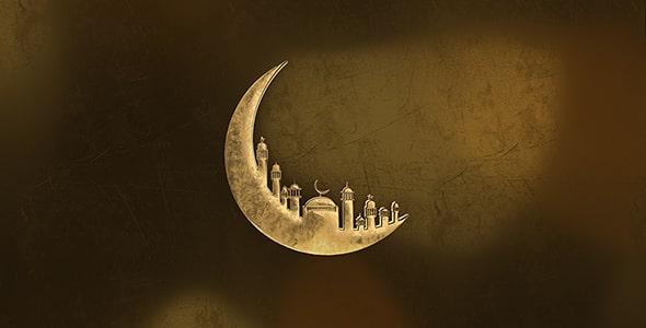 تصویر رندر 3D هلال ماه و ماه مبارک رمضان