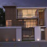 تصویر رندر 3D طراحی مدرن نمای بیرونی خانه