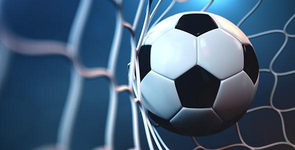 تصویر سه بعدی توپ و تور فوتبال در استادیوم