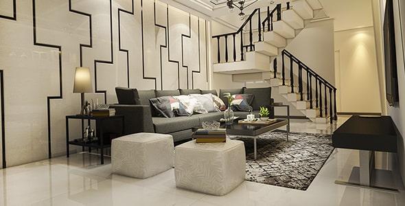 تصویر رندر سه بعدی اتاق و خانه دوبلکس