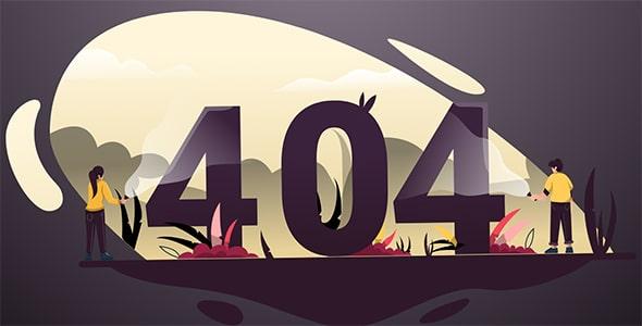 قالب صفحه 404 با کاراکتر کارتونی و انیمیشن